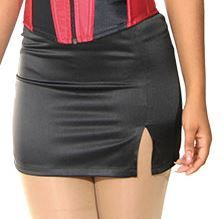 Black Stretch Satin Pinstripe Skirt