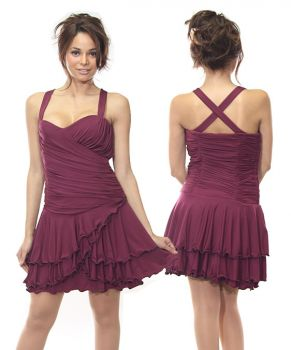 Ruched Wine Dress