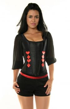 Black Corset with Red Poker Detail