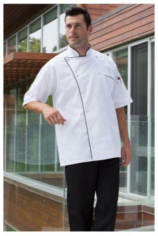 White Short Sleeve Chef Coat with 12 Cloth Covered Buttons, Thermometer Pocket, Contrasting Piping, Underarm Vents, Inset Pocket