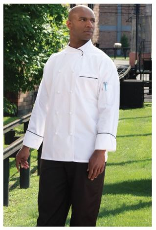 White Executive Style Chef Coat with 10 Hand-Rolled Buttons