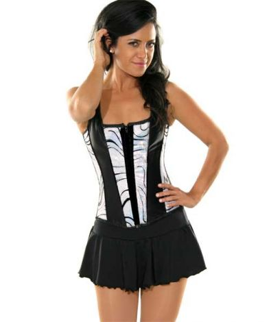 Corset with Silver Flock Swirl Panels