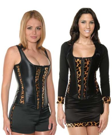 Corsets with Cheetah Velvet Trim