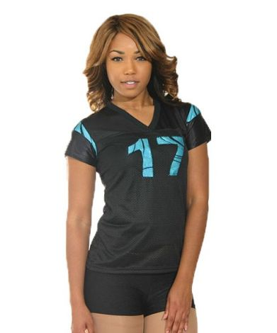 Black and Turquoise Flock Swirl Jersey