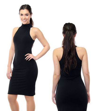 Black Sleeveless Poly Spandex Turtleneck Dress