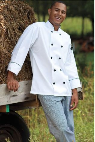 Chef Coat with Black Piping