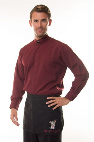 Burgundy Banded Collar Shirt