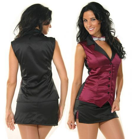 Burgundy and Black Satin Vest