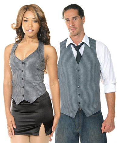 His & Her Grey Pinstripe Vests