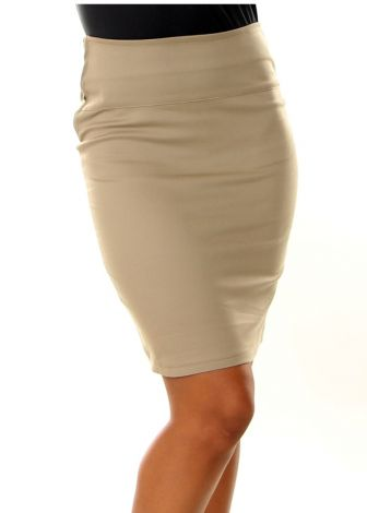 Long Khaki Pencil Skirt