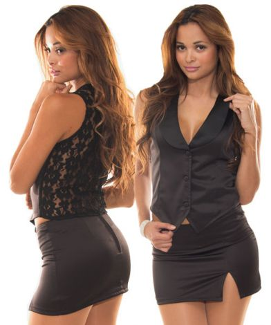 Vest with Black Lace Back