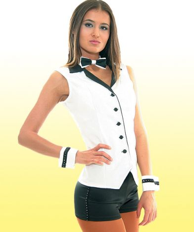 White and Black Satin Vest