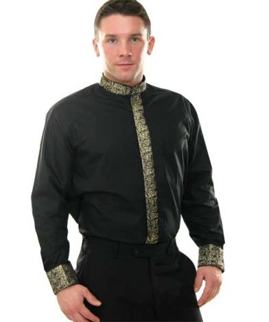 Banded Collar Shirt with Gold Metallic