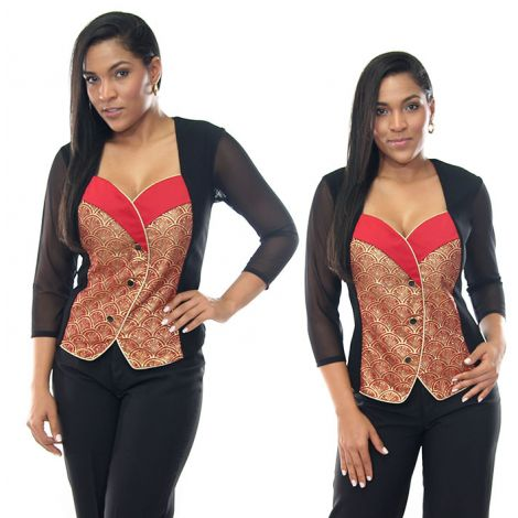 Red and Gold Brocade Vest