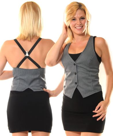 Grey Pinstripe X-Back Vest