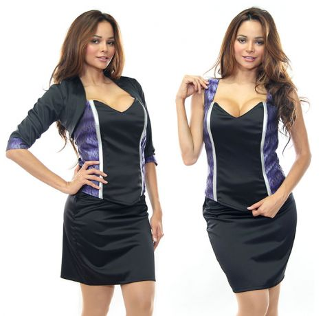 Purple Ombre and Black Stretch Satin Bodice