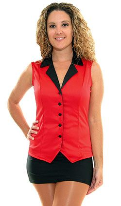 Red and Black Satin Vest