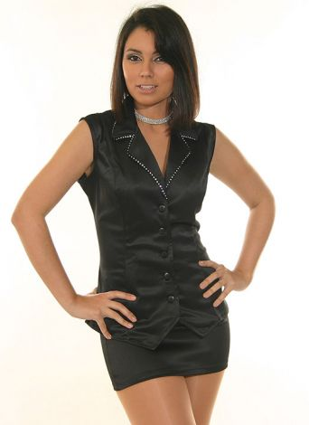 Satin Vest with Rhinestone Trim