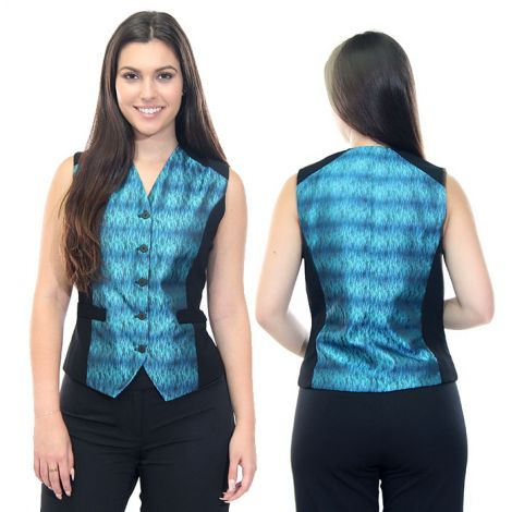 Teal and Black Ombre Vest