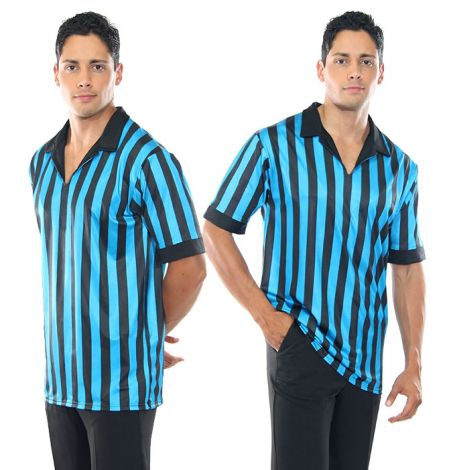 Unisex Turquoise and Black Striped Ref Shirt