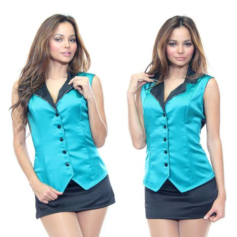 Teal and Black Satin Vest