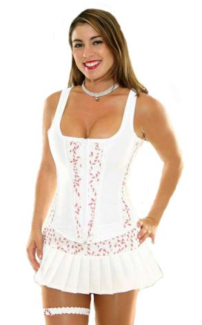 White Corset with Candy Cane Panels